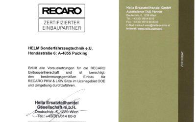 RECARO Einbaupartner mit Zertifizierung